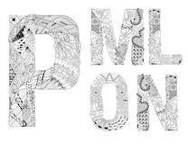 Ungewöhnliche Alphabetgekritzel-Artbuchstaben auf einem weißen Hintergrund Stockbild