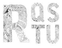 Ungewöhnliche Alphabetgekritzel-Artbuchstaben auf einem weißen Hintergrund Lizenzfreie Stockfotos