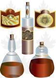 Ungewöhnliche Form der Flaschen und der Kennsätze Stockbilder