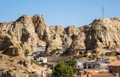 Ungewöhnliche Höhlehäuser in Purullena nahe Guadix, Spanien stockfotografie