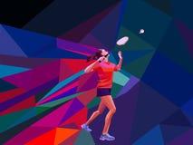 Ungewöhnlicher bunter Dreieckhintergrund Geometrischer polygonaler professioneller weiblicher Badmintonspieler Stockbilder