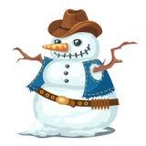 Ungewöhnlicher Schneemann mit Hut und Weste, Cowboyart Stockfotografie