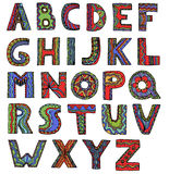 Ungewöhnlicher Vektorguß in den Gekritzelartbuchstaben auf einem weißen backgroun vektor abbildung
