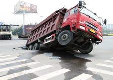 Ungewöhnlicher Verkehrsunfall Stockbilder