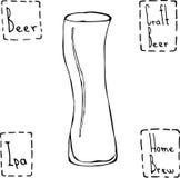 Ungewöhnliches modernes Kurven-Bier-Glas Hand gezeichneter Vektor Illustraition Stockfotos