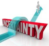 Ungewissheits-Plan voran überwinden, um Angst zu vermeiden Stockbild