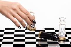 Unghia Art. Manicure e scacchi Fotografia Stock Libera da Diritti