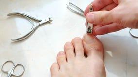 Unghie del piede di taglio dell'uomo con il tagliatore Unghie del piede del taglio del maschio a piedi Primo piano delle dita del video d archivio