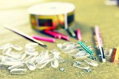 Unghie false tonificate del manicure Fotografia Stock