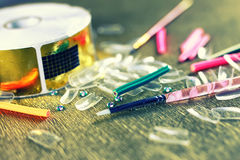 Unghie false tonificate del manicure Immagini Stock Libere da Diritti