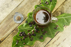 Ungiftiger schwarzer Kaffee und Kaffeebohne auf Elefanten Stockfotos