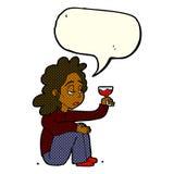 unglückliche Frau der Karikatur mit Glas Wein mit Spracheblase Stockfotografie