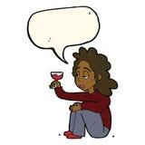 unglückliche Frau der Karikatur mit Glas Wein mit Spracheblase Lizenzfreie Stockbilder