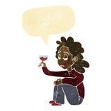 unglückliche Frau der Karikatur mit Glas Wein mit Spracheblase Stockbilder