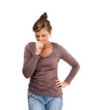 Deprimierte junge Frau lokalisiert auf weißem Hintergrund Lizenzfreies Stockbild