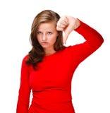 Deprimierte junge Frau lokalisiert auf weißem Hintergrund Lizenzfreies Stockfoto