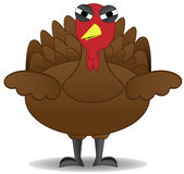 Unglücklicher die Danksagungs-Türkei-Vogel steht alleine stock abbildung