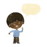 unglücklicher Junge der Karikatur, der Friedenszeichen mit Spracheblase gibt Stockfoto