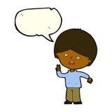 unglücklicher Junge der Karikatur, der Friedenszeichen mit Spracheblase gibt Stockbild