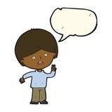 unglücklicher Junge der Karikatur, der Friedenszeichen mit Spracheblase gibt Stockbilder
