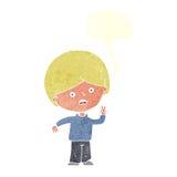 unglücklicher Junge der Karikatur, der Friedenszeichen mit Spracheblase gibt Stockfotografie