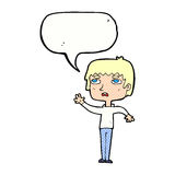 unglücklicher Junge der Karikatur, der mit Spracheblase wellenartig bewegt Stockbilder
