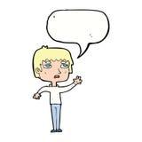 unglücklicher Junge der Karikatur, der mit Spracheblase wellenartig bewegt Lizenzfreie Stockbilder