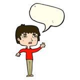 unglücklicher Junge der Karikatur, der mit Spracheblase wellenartig bewegt Stockfotos