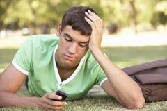 Unglücklicher männlicher Jugendstudent With Mobile Phone im Park lizenzfreie stockfotografie