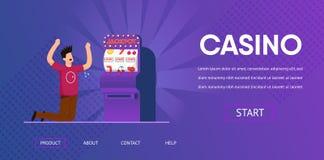 Unglücklicher Mann-Schrei verlieren Bargeld-Spielautomaten stock abbildung