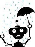 Unglücklicher Schattenbild-Roboterregen hält Regenschirm an Lizenzfreie Stockfotos
