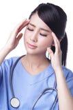 Unglücklicher Umkippenfrauenchirurg Lizenzfreie Stockfotografie