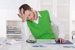 Unglückliches Geschäftsmannsitzen betroffen und frustriert im offi lizenzfreies stockfoto