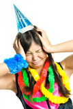Unglückliches Mädchen, das ihren Geburtstag feiert Lizenzfreies Stockfoto