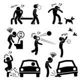 Unglückliches Mann-Missgeschick-Leute-Karma vektor abbildung