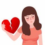Unglückliches trauriges des flachen Mädchens des defekten Herzens oder der Scheidung des roten Leids Lizenzfreie Stockfotografie
