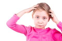 Unglückliches trauriges kleines Mädchen Stockbild