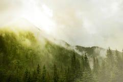 Unglaubliche Landschaft mit nebeligen Bergen Stockfoto
