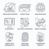 Unglaubliche zukünftige Technologielinie Ikonensatz Stockfotos