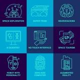Unglaubliche zukünftige Technologielinie Ikonensatz Stockbilder