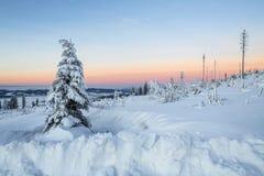 Unglaublicher bunter Sonnenaufgang über den Alpen, Trieb von den Sumava-Hügeln Astronomisches Phänomen - der Gurt von Venus lizenzfreie stockfotografie