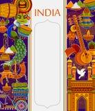 Unglaublicher Indien-Hintergrund, der indische bunte Kultur und Religion darstellt vektor abbildung