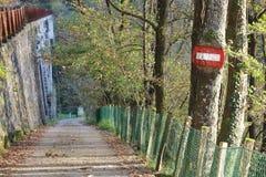 Unglaubliches Verkehrszeichen innerhalb des Baums Stockfoto