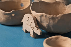 Unglazed clay pots and elephant Stock Photography