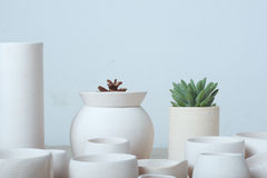 Unglazed white clay pots Stock Photography