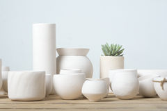 Unglazed white clay pots Stock Photo