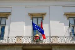 Ungrare- och EU-flagga Royaltyfri Bild