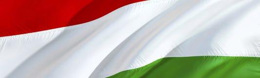 Ungrare sjunker flagga hungary vinkande design för flagga 3D, tolkning 3D Det nationella symbolet av Ungernbakgrundstapeten 3d royaltyfri bild