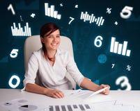 Ungt affärskvinnasammanträde på skrivbordet med diagram och statistik arkivbild