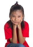 Ungt asiatiskt flickaframsidauttryck III Arkivfoto